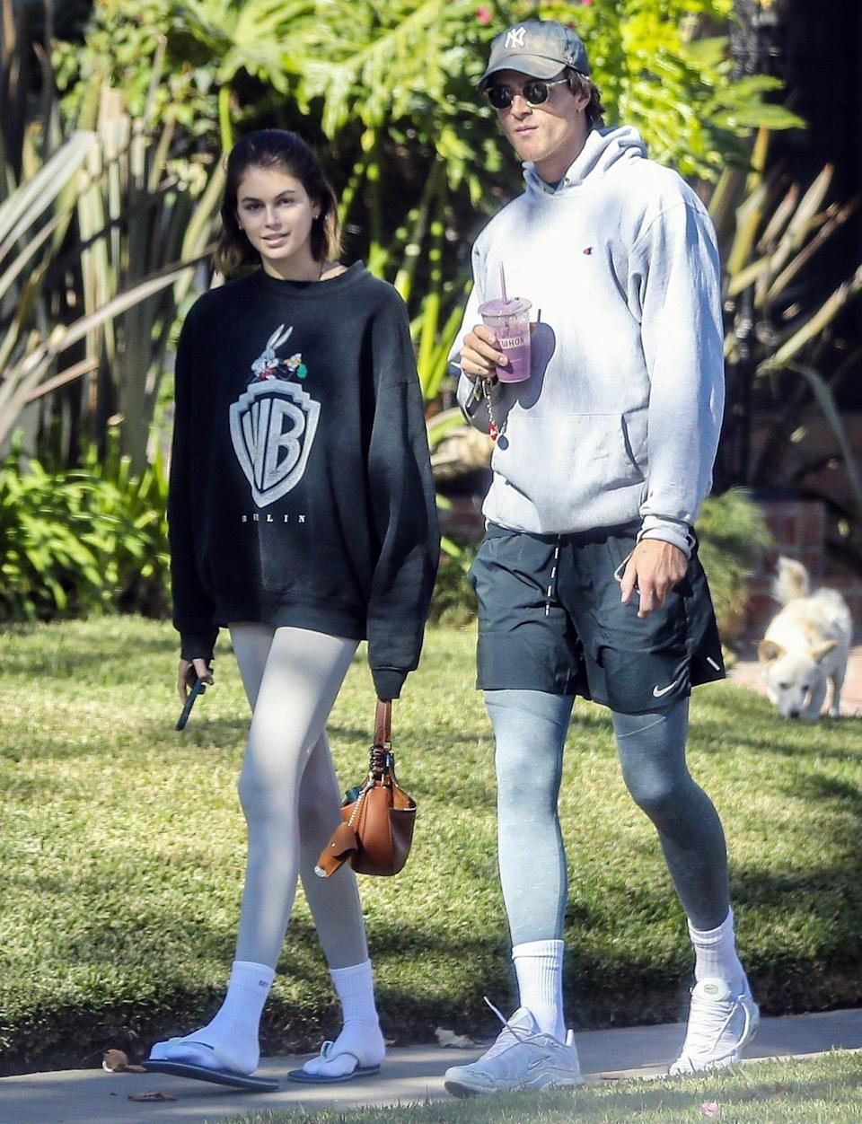 <p>Kaia Gerber and boyfriend Jacob Elordi take a stroll with her dog on Tuesday in Santa Monica. </p>