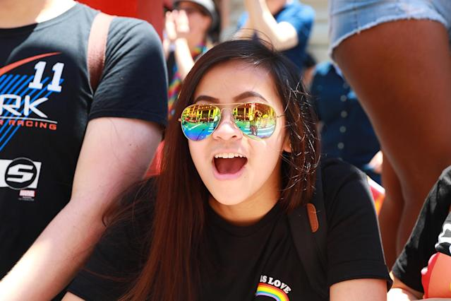 <p>The N.Y.C. Pride Parade is reflected in a woman's sunglasses in New York on June 25, 2017. (Photo: Gordon Donovan/Yahoo News) </p>