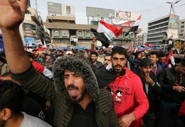 Iraqis gather at Tahrir square in the capital Baghdad amid ongoing anti-government protests