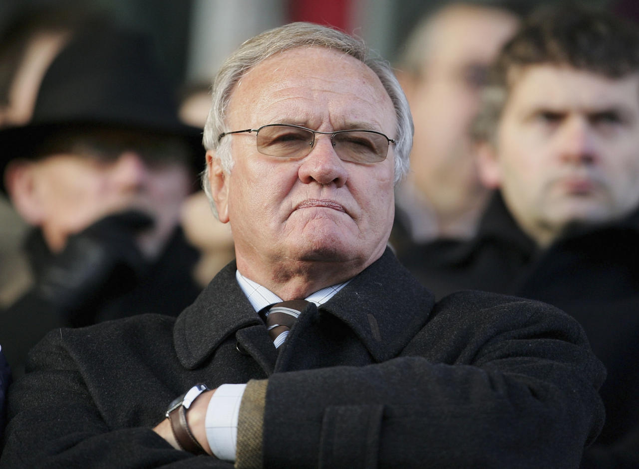 KETTERING, UNITED KINGDOM - JANUARY 27:  New Director of Football at Kettering, Ron Atkinson looks on during the Nationwide Conference North match between Kettering Town and Droylsden at Rockingham Road on January 27, 2007 in Kettering, England.  (Photo by Julian Finney/Getty Images)