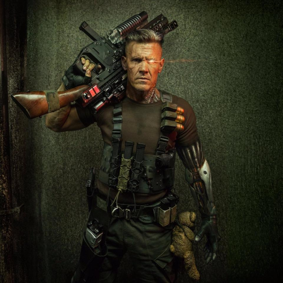 "<p>Reynolds followed the Cable close-up with this shot revealing more of Brolin's costume, including a <a rel=""nofollow"" href=""http://www.hollywoodreporter.com/heat-vision/deadpool-2-why-cable-has-a-bear-first-josh-brolin-photo-1027332"">curious Teddy Bear.</a> (Credit: <a rel=""nofollow"" href=""https://www.instagram.com/p/BXf3bk_jrni/"">Ryan Reynolds/Instagram</a>) </p>"