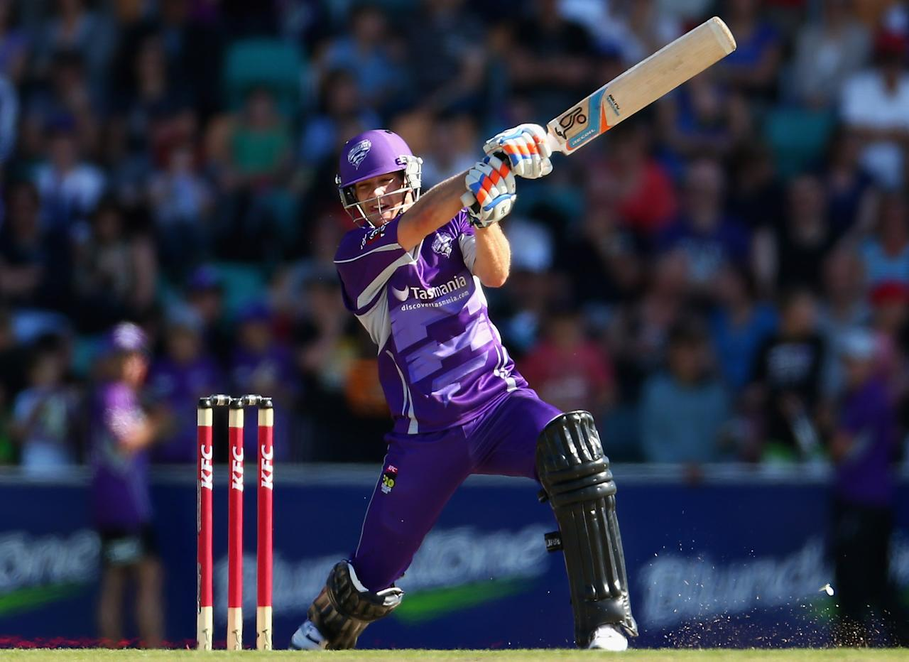 HOBART, AUSTRALIA - DECEMBER 23:  Tim Paine of the Hurricanes bats during the Big Bash League match between the Hobart Hurricanes and the Sydney Thunder at Blundstone Arena on December 23, 2012 in Hobart, Australia.  (Photo by Robert Cianflone/Getty Images)