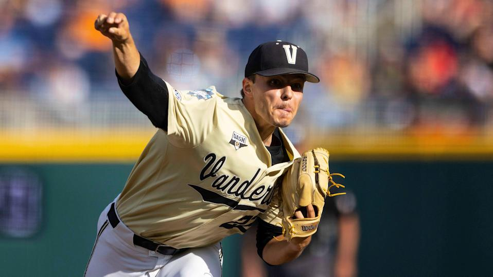 Jack Leiter will take the mound for Vanderbilt in Game 1 of the College World Series, while Mississippi State has selected left-hander Christian MacLeod to start in the opener.