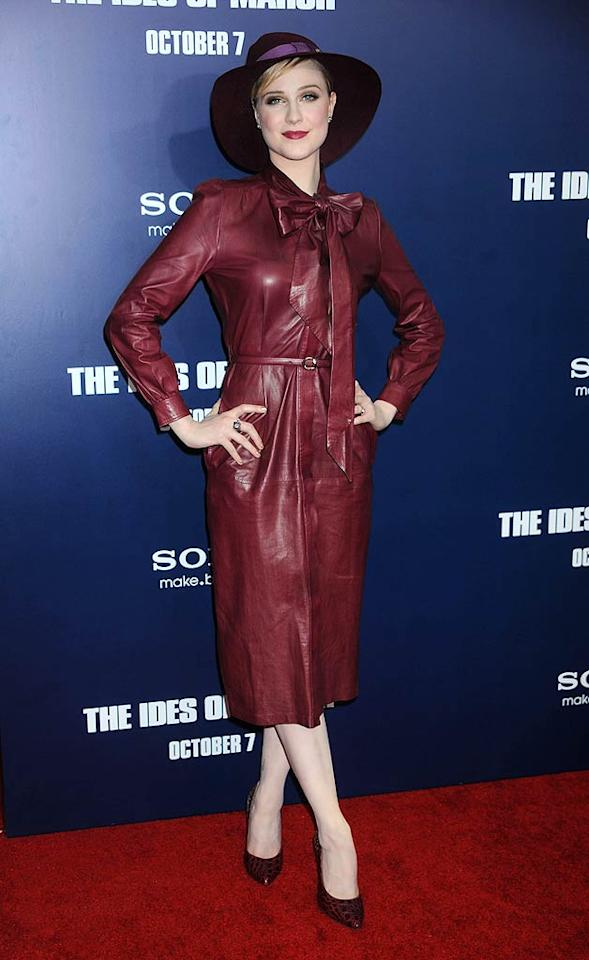 "Where in the world is ... Evan Rachel Wood? On Wednesday evening, the 24-year-old actress sported a leathery, Carmen Sandiego-inspired ensemble to the New York City premiere of her new drama, ""The  Ides of March."" What do you make of her $4,700 bow-adorned Gucci bomb and silly-looking chapeau?  Splash News - October 5, 2011"