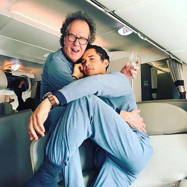 "<p>Bloom and his <em>Pirates of the Caribbean: Dead Men Tell No Tales</em> costar Geoffrey Rush goofed around in their matching jammies while flying around the world promote their flick. ""F<span title=""Edited"">irst mate flyers our new fragrance campaign launches next week </span><span title=""Edited""><a href=""https://www.instagram.com/explore/tags/deepseasmells/"" rel=""nofollow noopener"" target=""_blank"" data-ylk=""slk:#deepseasmells"" class=""link rapid-noclick-resp"">#deepseasmells</a> <a href=""https://www.instagram.com/explore/tags/barbossa/"" rel=""nofollow noopener"" target=""_blank"" data-ylk=""slk:#barbossa"" class=""link rapid-noclick-resp"">#barbossa</a> <a href=""https://www.instagram.com/explore/tags/willturner/"" rel=""nofollow noopener"" target=""_blank"" data-ylk=""slk:#willturner"" class=""link rapid-noclick-resp"">#willturner</a><a href=""https://www.instagram.com/explore/tags/pirates/"" rel=""nofollow noopener"" target=""_blank"" data-ylk=""slk:#pirates"" class=""link rapid-noclick-resp"">#pirates</a>,</span><span title=""Edited"">"" cracked the actor. </span>(Photo: <a href=""https://www.instagram.com/p/BULAtrgg3kL/"" rel=""nofollow noopener"" target=""_blank"" data-ylk=""slk:Orlando Bloom via Instagram"" class=""link rapid-noclick-resp"">Orlando Bloom via Instagram</a>) </p>"