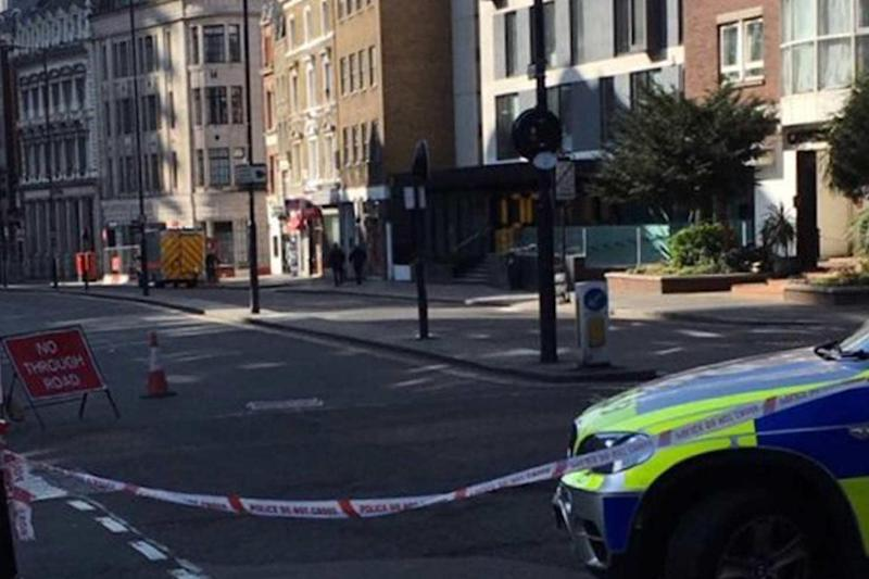 Police at the scene near the Barbican in the City