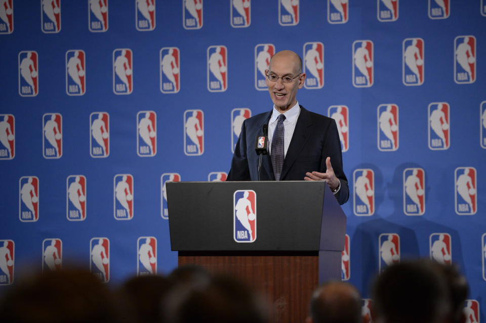 """After long upholding the value of the NBA schedule as it's existed for years, NBA Commissioner Adam Silver now says there's """"nothing magical"""" about an 82-game calendar. (Getty Images)"""