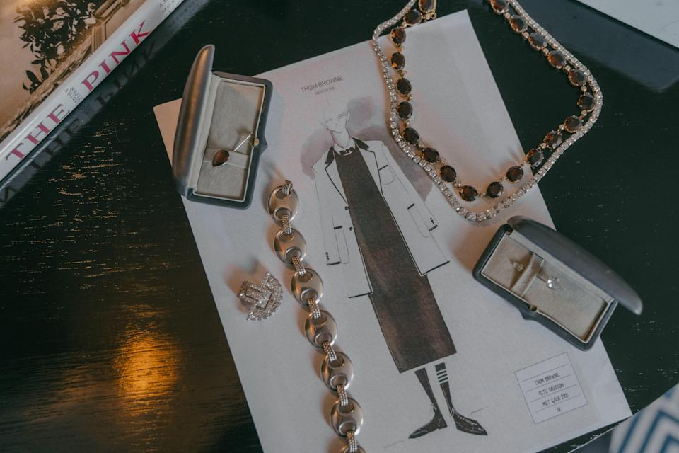 """""""Rebecca Selva from Fred Leighton had custom garnet and diamond teardrop lapel pins made for a suit jacket. I love unusual jewelry especially for an occasion as special as the Met. The floating teardrops were a representation of celebration and joy in this monumental moment for Pete,"""" says Davidson's stylist, Britt Theodora."""