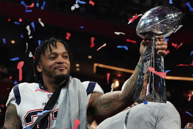 <p>Strong safety for the New England Patriots Patrick Chung holds the trophy after winning Super Bowl LIII against the Los Angeles Rams at Mercedes-Benz Stadium in Atlanta, Georgia, on February 3, 2019. (Photo by TIMOTHY A. CLARY / AFP) </p>