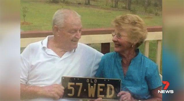 Kerry Reeves, pictured with her late husband Brian and her personalised numberplates. Picture: 7 News