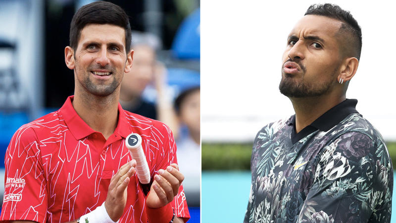Nick Kyrgios (pictured right) looking impressed in training and Novak Djokovic (pictured left) clapping.