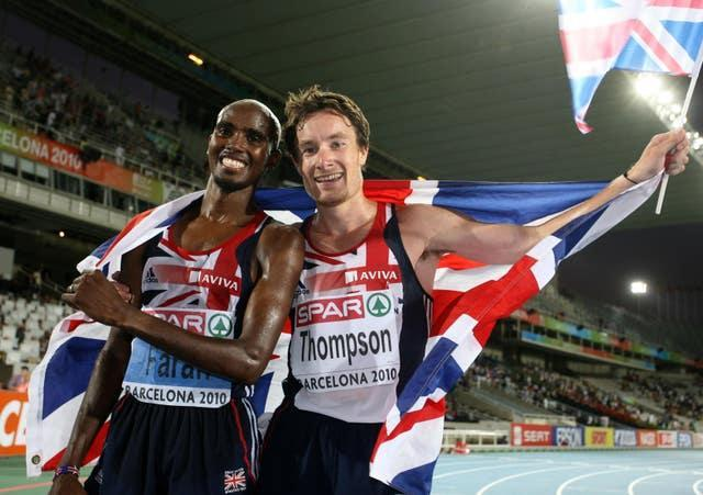 Farah celebrated with teammate Thompson who finished second