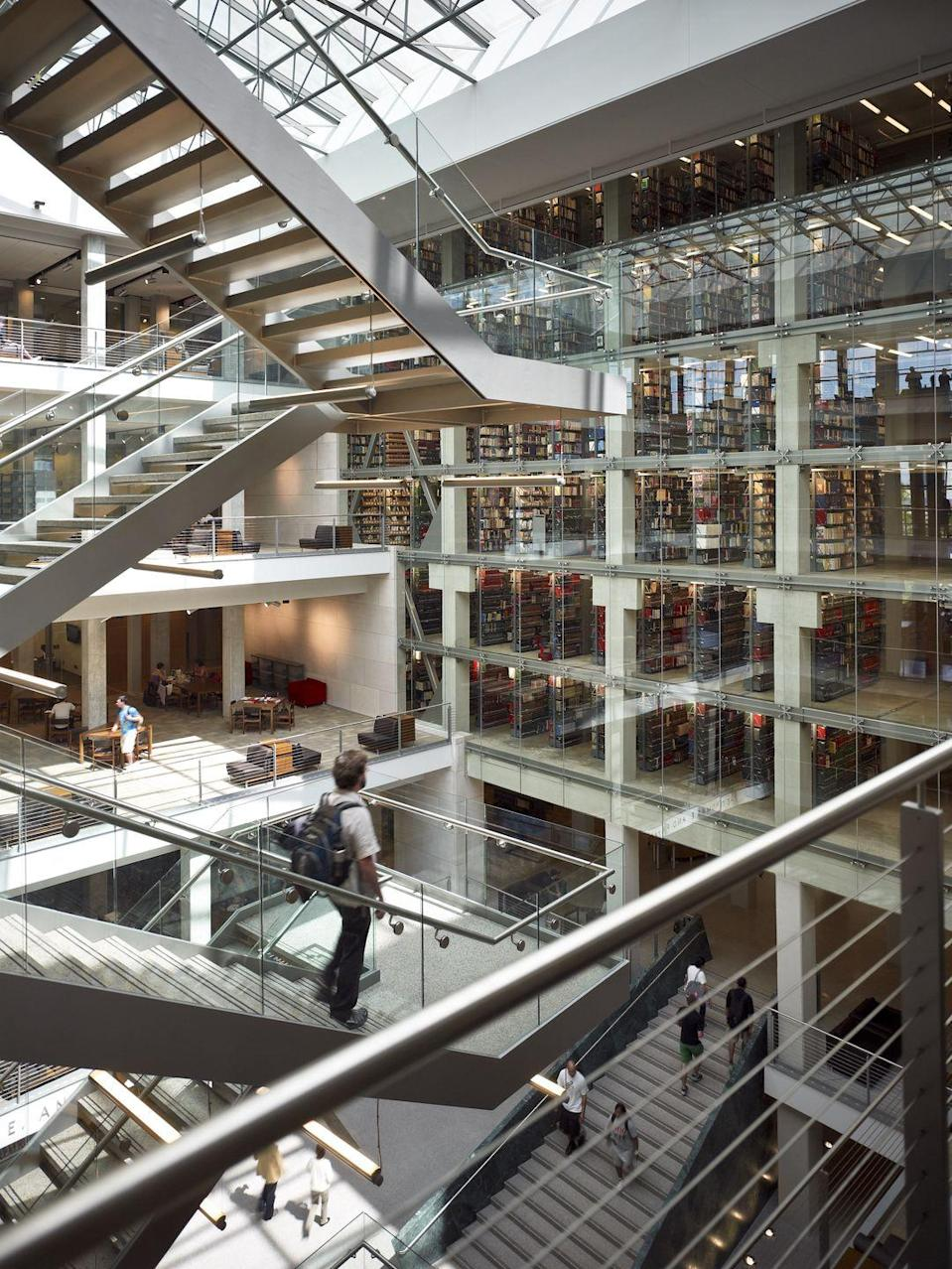 """<p>A three-year, $108.7 million renovation completed in 2009 brought <a href=""""https://library.osu.edu/about/locations/thompson-library"""" rel=""""nofollow noopener"""" target=""""_blank"""" data-ylk=""""slk:William Oxley Thompson Memorial Library"""" class=""""link rapid-noclick-resp"""">William Oxley Thompson Memorial Library</a> into the modern era. Transparency is key in its new look, complete with glass walls and a staircase that almost appears to be floating in the center of the building. <br></p>"""