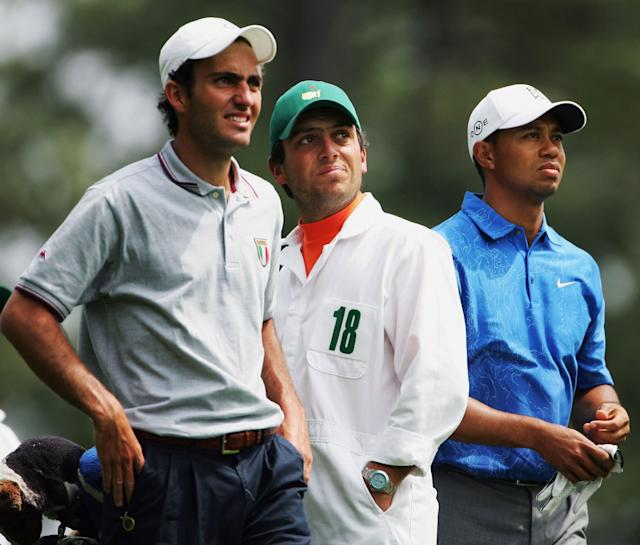 "<h1 class=""title"">The Masters - Round Two</h1> <div class=""caption""> AUGUSTA, GA - APRIL 07: Tiger Woods and amateur Edoardo Molinari of Italy on the fourth tee during the second round of The Masters at the Augusta National Golf Club on April 7, 2006 in Augusta, Georgia. (Photo by Andrew Redington/Getty Images) </div> <cite class=""credit"">Andrew Redington</cite>"