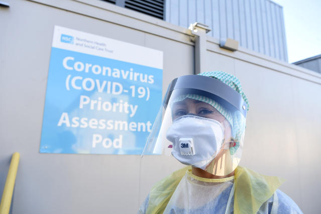 An Emergency Department Nurse during a demonstration of the Coronavirus pod and COVID-19 virus testing procedures set-up beside the Emergency Department of Antrim Area Hospital, Co Antrim in Northern Ireland. PA Photo. Picture date: Wednesday March 4, 2020. See PA story HEALTH Coronavirus Ulster. Photo credit should read: Michael Cooper/PA Wire