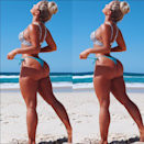 """<p>As the owner and designer of her own swimwear brand, the Australian beauty has 600,000 followers and shared this photo where she revealed she had: """"Full body skin smooth, Enlarged my booty, Sucked in my tummy, Sucked in my back, Thinned out my arms, Thinned out my quads, Made my neck a tad skinnier, Got rid of my scars and cellulite, Made my breast rounder, Lifted my booty."""" Photo: Karina Irby </p>"""