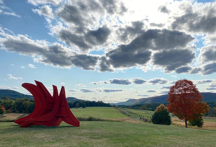 "By far the most popular <a href=""https://stormking.org/"" rel=""nofollow noopener"" target=""_blank"" data-ylk=""slk:sculpture park"" class=""link rapid-noclick-resp"">sculpture park</a> in upstate New York, Storm King is a 500-acre sculpture park in Hudson Valley, can be booked out a month in advance, so purchase tickets in advance. Since opening in 1960, it has grown to include dozens of sculptures that change over time, with a different selection on view every season. In its collection, the park owns sculptures by renowned artists including Carl Andre, Louise Bourgeois, and Daniel Buren. Artist Sarah Sze is showing a new exhibition called <a href=""https://collections.stormking.org/Detail/occurrences/152"" rel=""nofollow noopener"" target=""_blank"" data-ylk=""slk:Fallen Sky"" class=""link rapid-noclick-resp"">Fallen Sky</a>, opening June 12, which is both outdoors and inside an on-site wooden building. As Storm King Senior Curator Nora Lawrence says in a statement, ""In a time of pandemic, visitors come to Storm King to be outdoors, and this exhibition will bring the outdoors into the interior, literally by throwing open paneled doors and extending the installation through these doors, spilling outside into nature. Landscape will have taken over."""