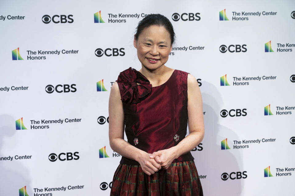 2020 Kennedy Center honoree violinist Midori, attends the 43nd Annual Kennedy Center Honors at The Kennedy Center on Friday, May 21, 2021, in Washington. (AP Photo/Kevin Wolf)