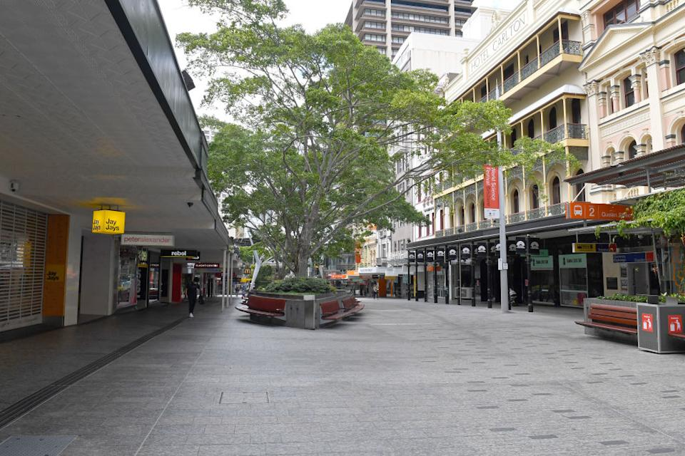 The normally busy Brisbane CBD is seen looking quiet in Brisbane, Australia during lockdown.
