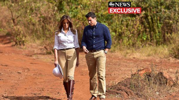 PHOTO: First lady Melania Trump gives an interview to ABC News' Tom Llamas. (ABC News)
