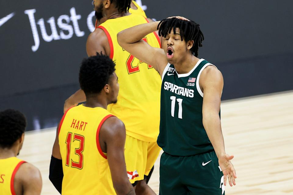 Michigan State guard A.J. Hoggard reacts during a stop in play against Maryland in the second half at Lucas Oil Stadium, March 11, 2021.