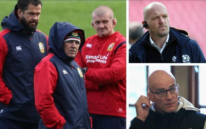 Warren Gatland wants Andy Farrell, Graham Rowntree (left), Gregor Townsend (top right) and John Mitchell (bottom right) on board - GETTY