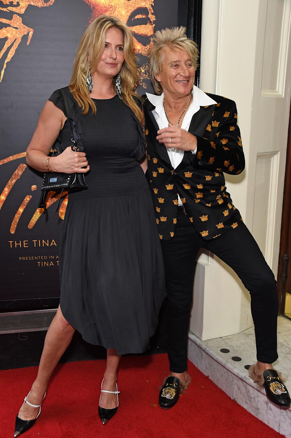 Penny Lancaster and Rod Stewart arrive at the press night performance of