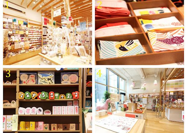 """1) Wrapping paper, Japanese paper, and more! 2) all kinds of authentically Japanese accessories 3) various stamps 4) exhibits from the """"papercraft classroom"""""""