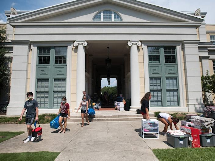 """Students began moving back into dorms and on-campus housing starting August 9. <p class=""""copyright""""><a href=""""https://www.gettyimages.com/search/photographer?family=editorial&photographer=Sean+Rayford"""" rel=""""nofollow noopener"""" target=""""_blank"""" data-ylk=""""slk:Sean Rayford/Getty Images"""" class=""""link rapid-noclick-resp"""">Sean Rayford/Getty Images</a></p>"""