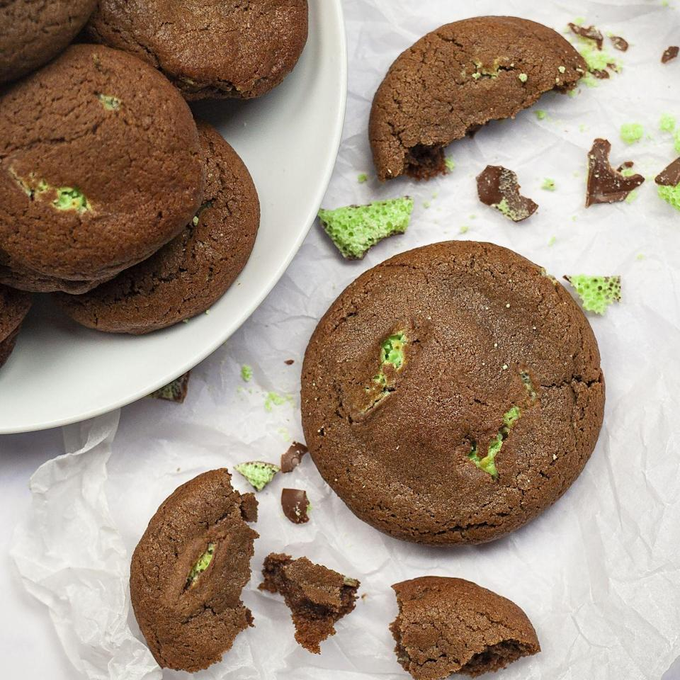 """<p>Make this minty chocolate cookie dough and freeze it so that you always have a sweet treat on hand, ready to freshly bake!</p><p><strong>Recipe: <a href=""""https://www.goodhousekeeping.com/uk/food/recipes/a35360013/mint-aero-chocolate-cookies/"""" rel=""""nofollow noopener"""" target=""""_blank"""" data-ylk=""""slk:Mint Aero Chocolate Cookies"""" class=""""link rapid-noclick-resp"""">Mint Aero Chocolate Cookies</a></strong></p>"""