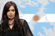 """BUENOS AIRES, ARGENTINA - FEBRUARY 07: The president of Argentina, Cristina Fernandez de Kirchner submitted a formal complaint to the ONU for the """"militarization being conducted by Britain,"""" in the area. In addition, she decreed that in 30 days the report Rattenbach must be open, on February 07, 2012, in Buenos Aires, Argentina. (Photo by Charly Diaz Azcue/LatinContent/Getty Images)"""