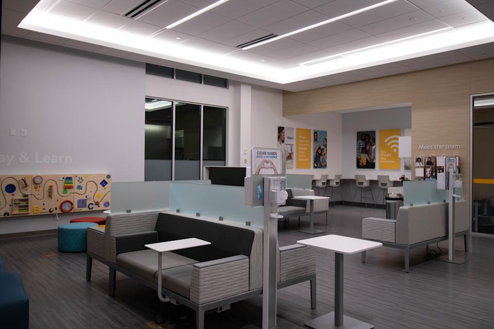 The waiting room for the Walmart Health in Dallas, Georgia.