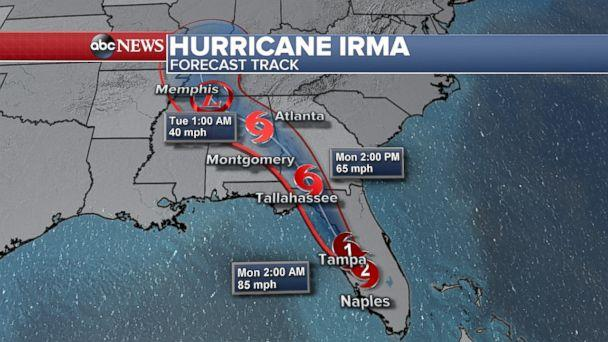 PHOTO: A map released late on Sept. 10, 2017 shows the forecast track for Hurricane Irma. (ABC News)
