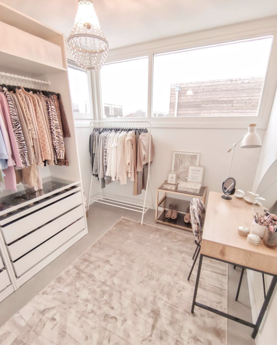 "<p>Similarly, a vanity can add a bit more storage space for the smaller things your closet holds. It has another purpose, too: It serves as a spot to complete the rest of your morning routine, including your makeup. </p><p>See more at <a href=""https://www.instagram.com/p/CJGTwi6jqzo/"" rel=""nofollow noopener"" target=""_blank"" data-ylk=""slk:Casa di Denise"" class=""link rapid-noclick-resp"">Casa di Denise</a>. </p>"