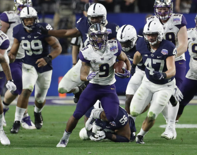 Washington running back Myles Gaskin (9) against Penn State during the Fiesta Bowl NCAA college football game, Saturday, Dec. 30, 2017, in Glendale, Ariz. (AP Photo/Rick Scuteri)