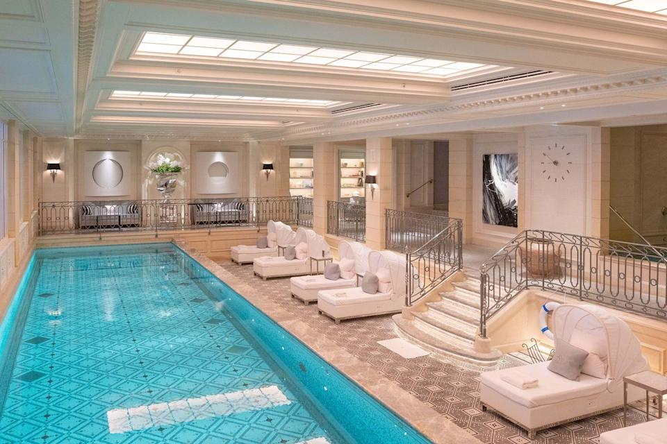 """<p>As the Palace of flowers and gastronomy, the <a href=""""https://www.fourseasons.com/paris/"""" rel=""""nofollow noopener"""" target=""""_blank"""" data-ylk=""""slk:Four Seasons Hôtel George V Paris"""" class=""""link rapid-noclick-resp"""">Four Seasons Hôtel George V Paris</a> is home to some of the best culinary experiences in Paris, as well as its 244 rooms and suites. In the Galerie, the most famous French dishes have been reinterpreted by the chef Alan Taudon; at the one-Michelin-starred L'Orangerie you get a glimpse of the future of dining; while Le George is the perfect place for a trendier rendezvous. And then there's Le Cinq, with its three Michelin stars – a gastronomic experience of a lifetime. And for a break between them all, try Le Spa with its elegant mosaic swimming pool.<br></p>"""