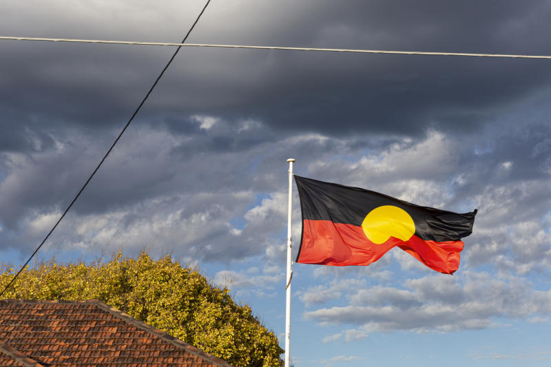 Aboriginal flag flying high above community centre in suburban neighbourhood.