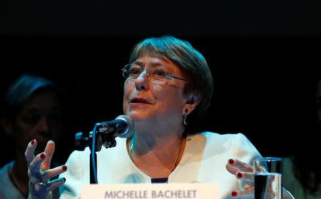 UN High Commissioner for Human Rights Michelle Bachelet holds a news conference in Mexico City