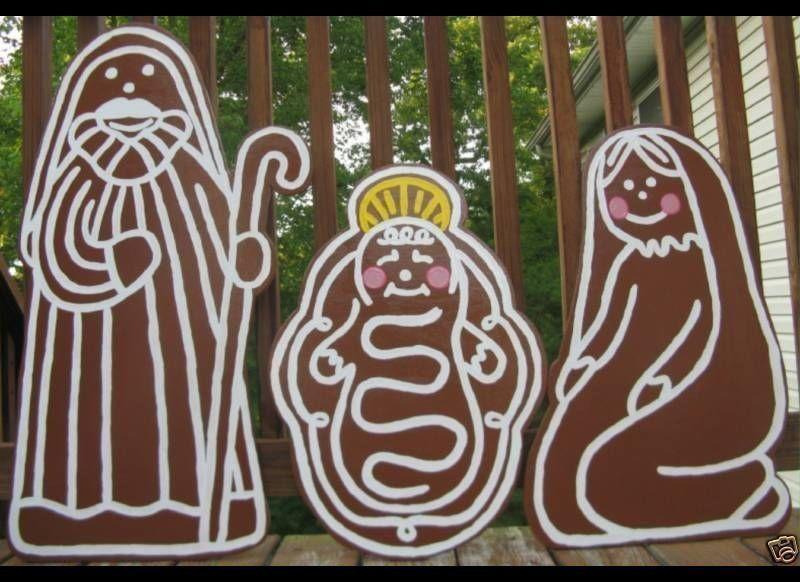 """Celebrate two important holiday signifier,  the nativity and gingerbread men, by combining them into <a href=""""http://www.ebay.com/itm/like/380544518329?lpid=82"""" target=""""_blank"""">big lawn ornaments.</a>"""