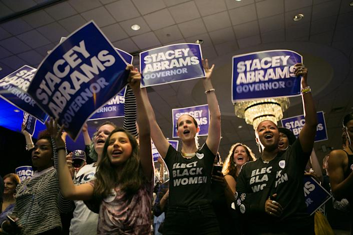 Supporters of Stacey Abrams at a primary election night event in Atlanta. (Photo: Jessica McGowan/Getty Images)
