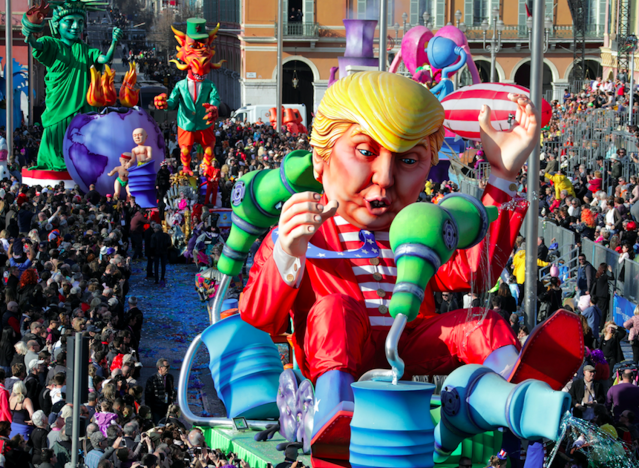 A float with a giant figure of U.S. President Donald Trump is paraded through the crowd during the 133rd Nice Carnival parade. REUTERS/Eric Gaillard <span> </span>
