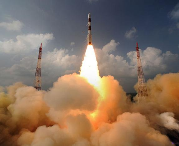 India's first mission to Mars, the Mars Orbiter Mission, launches the Mangalyaan orbiter toward the Red Planet atop a Polar Satellite Launch Vehicle on Nov. 5, 2013 from the Indian Space Research Organisation's Satish Dhawan Space Centre in Sri