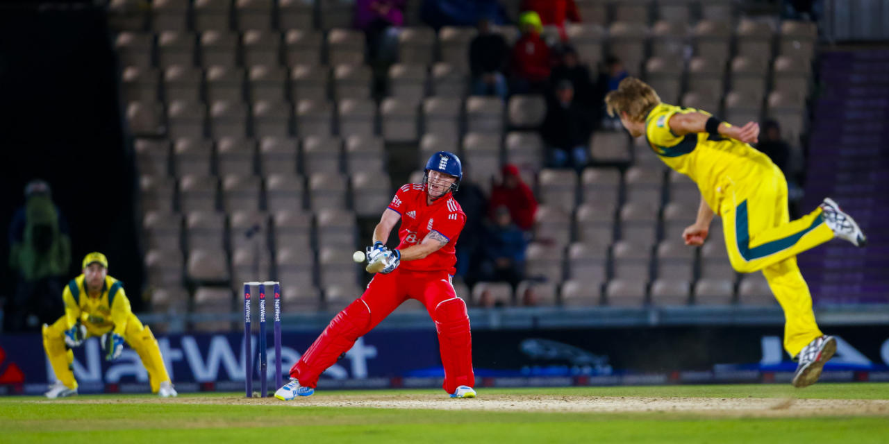 England's Ben Stokes attempts a ramp shot during the Fifth One Day International at the Ageas Bowl, Southampton.