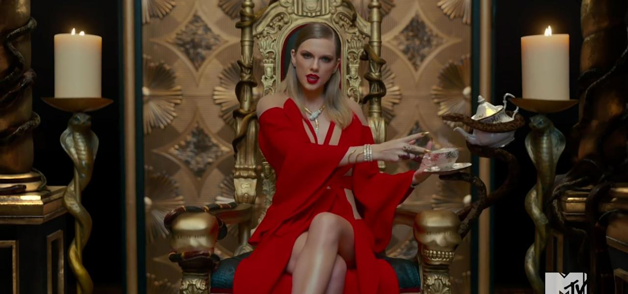 """<p><a rel=""""nofollow"""" href=""""http://people.com/tag/taylor-swift/"""">Taylor Swift</a> was branded a snake after <a rel=""""nofollow"""" href=""""http://people.com/celebrity/kim-kardashian-releases-phone-call-between-taylor-swift-and-kanye-west/"""">Kim Kardashian West leaked a phone call</a> between the singer and her husband Kanye West.  The Grammy winner <a rel=""""nofollow"""" href=""""http://people.com/music/taylor-swift-saturday-night-live-performance/"""">fully owned the reptile</a> in her """"Look What You Made Me Do"""" music video, however. Above, she sits on a throne of snakes — look closer, and you'll see the words """"Et tu, Brute"""" carved into the arm.</p>"""
