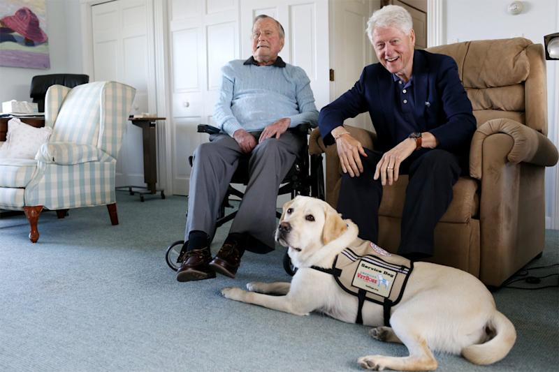 Former Presidents George H.W. Bush and Bill Clinton with Sully, the Labrador Retriever