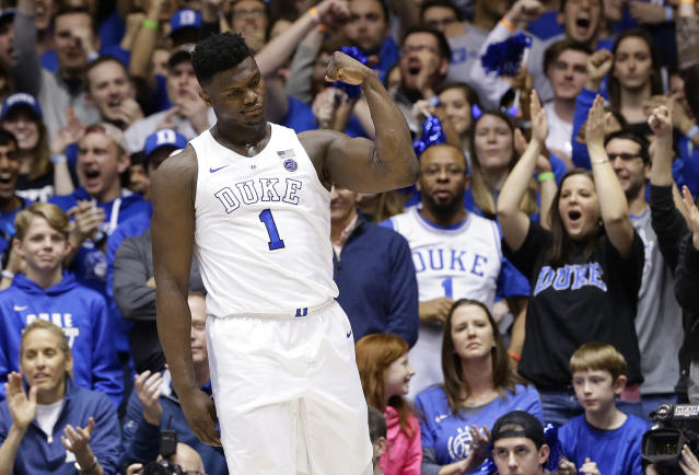 "Duke's <a class=""link rapid-noclick-resp"" href=""/ncaab/players/147096/"" data-ylk=""slk:Zion Williamson"">Zion Williamson</a> reacts following a basket against Virginia during the first half of an NCAA college basketball game in Durham, N.C., Saturday, Jan. 19, 2019. (AP Photo/Gerry Broome)"