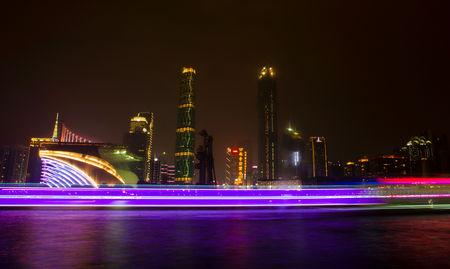 FILE PHOTO: A long exposure picture of boats passing by a business area along the Pearl River in Guangzhou, Guangdong province, March 22, 2014.  REUTERS/Alex Lee/File Photo
