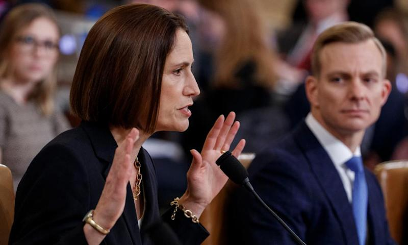 Fiona Hill testifies with David Holmes on Capitol Hill in Washington DC, on 21 November.