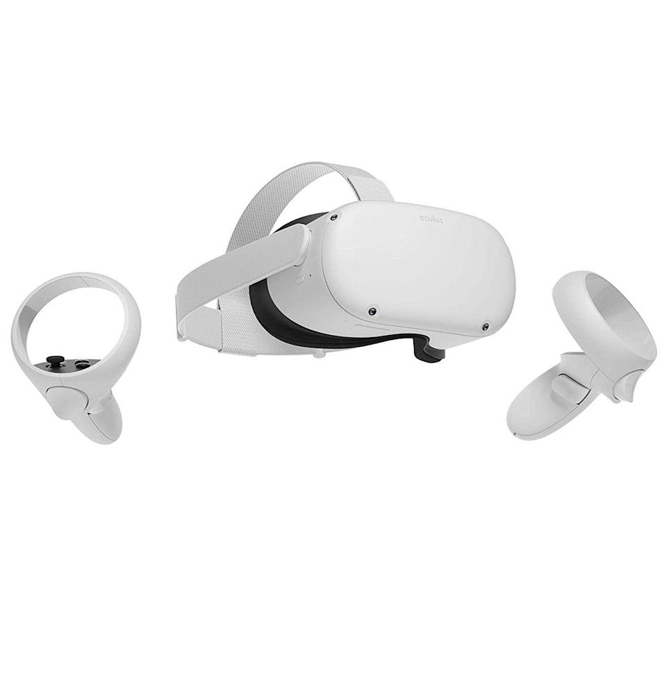 """<p><strong>Oculus</strong></p><p>amazon.com</p><p><strong>$299.00</strong></p><p><a href=""""https://www.amazon.com/Oculus-Quest-Advanced-All-One-2/dp/B08F7PTF53/?tag=syn-yahoo-20&ascsubtag=%5Bartid%7C10054.g.36186166%5Bsrc%7Cyahoo-us"""" rel=""""nofollow noopener"""" target=""""_blank"""" data-ylk=""""slk:Buy"""" class=""""link rapid-noclick-resp"""">Buy</a></p><p> Sometimes, you just have to escape this reality in favor of another. <a href=""""https://www.esquire.com/lifestyle/a35339497/oculus-quest-2-vr-headset-review-endorsement/"""" rel=""""nofollow noopener"""" target=""""_blank"""" data-ylk=""""slk:The Quest 2"""" class=""""link rapid-noclick-resp"""">The Quest 2</a>, besides hosting an impressive library of VR games, is built to complement workouts, TV streaming, and more in an alternative realm.</p>"""