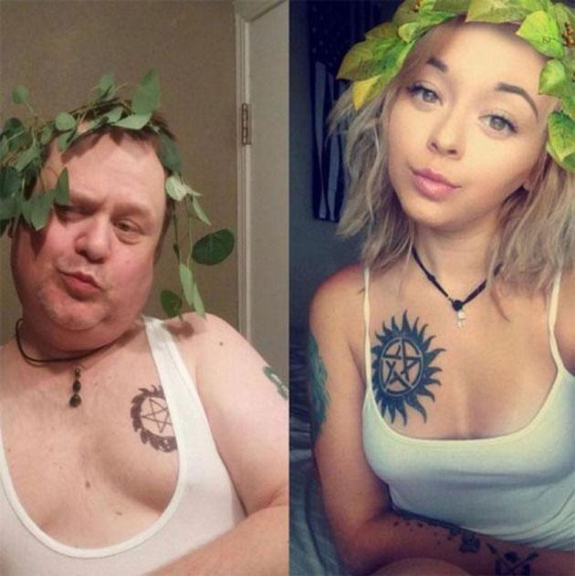 Dad Chris Martin doing his best impression of his daughter Cassie. His selfie game is strong. Photo: Facebook/Cassie Martin